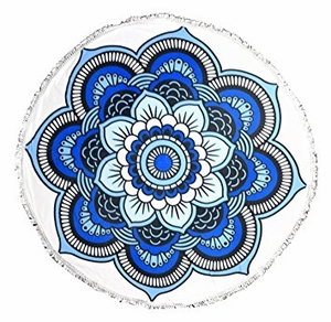 Roundie Beach Towel Yoga Mats Thick Terry Cotton with Fringe Tassels - Blue Floral
