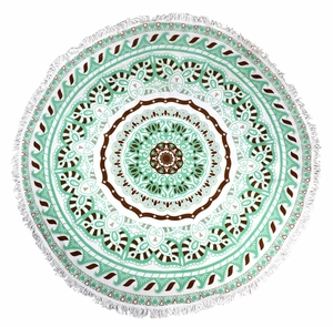 Roundie Beach Towel Yoga Mats Thick Terry Cotton with Fringe Tassels - Mint Mandala