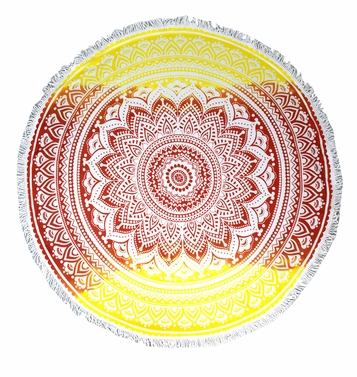 Red Yellow Mandala Beach Towel Yoga Mats Terry Cotton Fringe Tassels