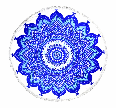 Roundie Beach Towel Yoga Mats Thick Terry Cotton with Fringe Tassels - Royal Blue Mandala