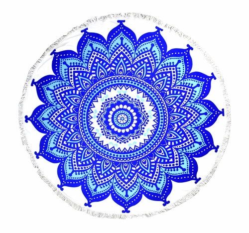 Royal Blue Mandala Beach Towel Yoga Mats Thick Terry Cotton with Fringe Tassels