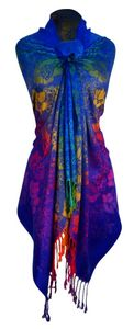 Royal Blue Silky Tropical Hibiscus Floral Pashmina Wrap Shawl Scarf