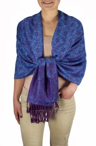 Royal Pashminas with Intricate Vine Paisley Design (Blue and Plum)