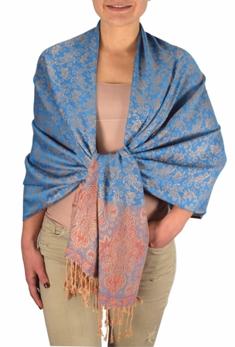 Blue Tan Pashminas Intricate Vine Paisley Design
