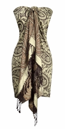 Cream Brown Pashminas Intricate Vine Paisley Design