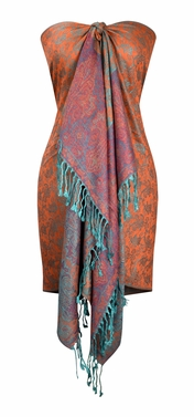 Orange Turquoise Pashminas Intricate Vine Paisley Design