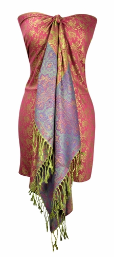 Pink and Green Pashminas Intricate Vine Paisley Design