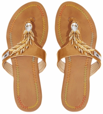 Gold Leaf Embellished Open Back Summer Sandal