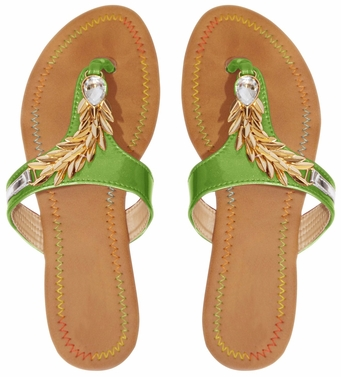 Green Leaf Embellished Open Back Summer Sandal