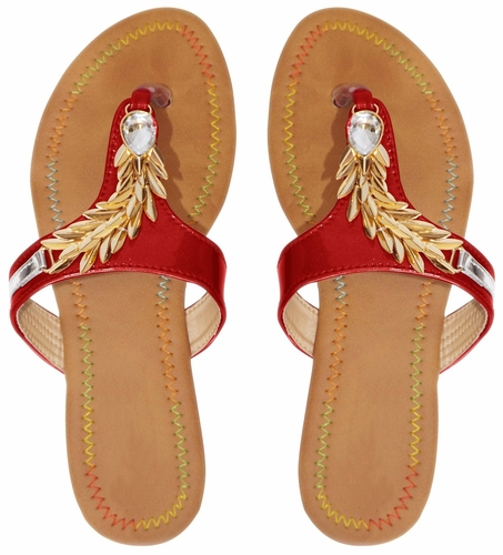 Red Leaf Embellished Open Back Summer Sandal