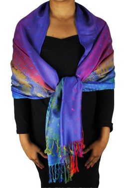 Sea Blue Rainbow Tropical Pashmina Wrap Shawl Scarf