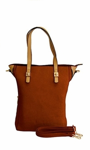 SELENA Classic Summer Series Large Shoulder Bag Tote Handbag Purse (Brown)