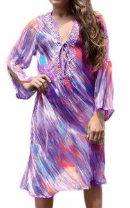 Purple Sheer Multi print Drape Bathing Suit Cover Up Tunic Top Swim Dress Large