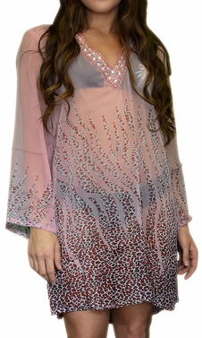 Sheer Multi print Drape Bathing Suit Cover Up Tunic Top Swim Dress
