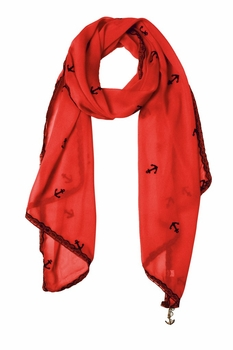 Sheer Vintage Anchor Embossed Scarf with Anchor Charm & Lace Border (Coral)