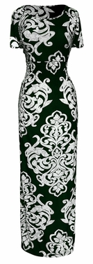 Green Short Sleeved Smocked Scoop Neck Damask Maxi Dress