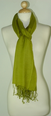 Olive Green Silk Cashmere Wrap