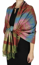 Silky Tropical Hawaiian Pansy Shawl Scarf Kelly Green