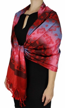 Red Silky Hawaiian Pansy Shawl Scarf