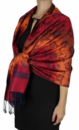 Silky Tropical Hawaiian Pansy Pashmina Shawl Scarf Wine