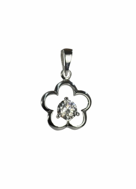 Simple CZ Flower Pendant