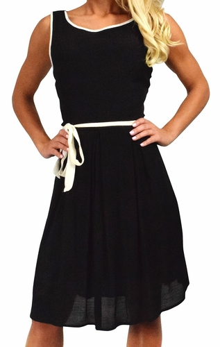 Beautiful Holiday Fabric Skater Dress Criss Cross Back & Tie Belt (Black)
