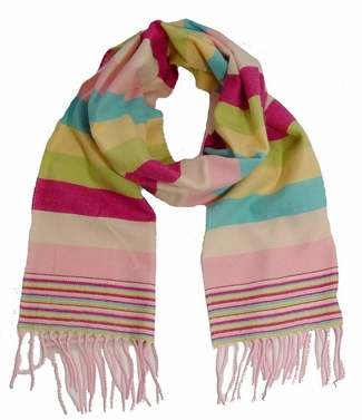Striped Rainbow Cashmere Feel Light Scarf