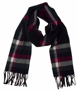 Maroon Plaid Cashmere Feel Light Unisex Scarf