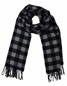 Dark Grey Black Plaid Cashmere Feel Light Unisex Scarf
