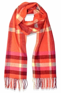 Orange Red Plaid Cashmere Feel Light Unisex Scarf