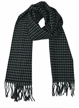 Grey Black Houndstooth Cashmere Feel Light Unisex Scarves