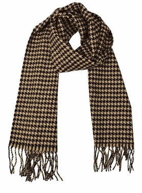 Tan Brown Houndstooth Cashmere Feel Light Unisex Scarves