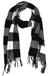 Black Grey Cashmere Feel Plaid Houndstooth Print Scarf Unisex Scarves