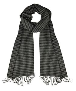 Houndstooth Gray Cashmere Feel Plaid Houndstooth Print Scarf Unisex Scarves