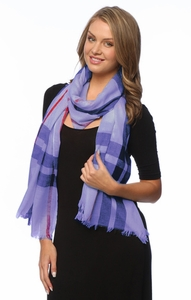 Purple Plaid Print Long Scarf Wrap Shawl