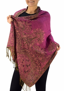 Fuchsia Vintage Persian Paisley Printed Solid Pashmina Shawl Scarf
