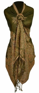 Olive Vintage Persian Paisley Printed Solid Pashmina Shawl Scarf