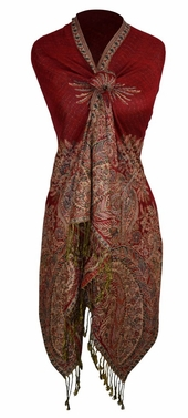 Soft Vintage Persian Paisley Printed Solid Pashmina Shawl Scarf (Red)