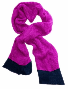 Hot Pink Navy Warm Loose Hand Knit Scarf