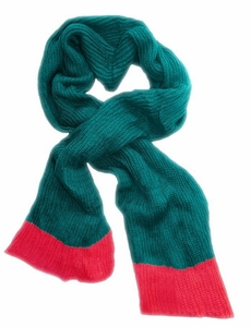 Soft Warm Chunky Loose Hand Knit Scarf (Teal Hot Pink)