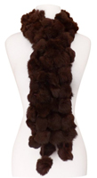 Brown Rabbit Fur Boa Shawl Scarf with Poms
