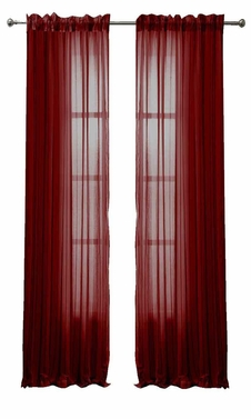 Burgundy Solid Color Woven Curtains Sheer Window Panel Set Curtain, 55 x 84
