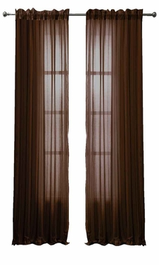 Chocolate Brown Solid Color Woven Curtains Sheer Window Panel Set Curtain, 55 x 84