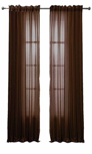 Solid Color Woven Curtains Sheer Window Panel Set Curtain, 55 x 84 Chocolate Brown