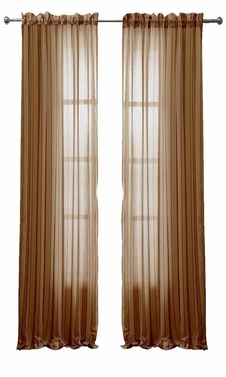 Taupe Solid Color Woven Curtains Sheer Window Panel Set Curtain, 55 x 84