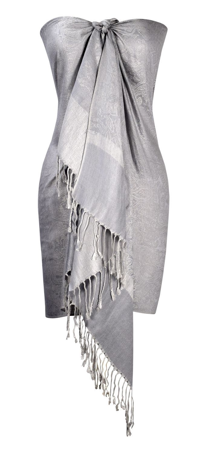 494a217ee20c9 Solid Silver Vintage Jacquard Paisley Shawl Wrap for women