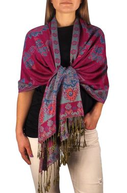 Sophisticated Reversible Floral Shawl (Magenta)