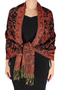 Sophisticated Reversible Paisley Floral Shawl (Black & Red)
