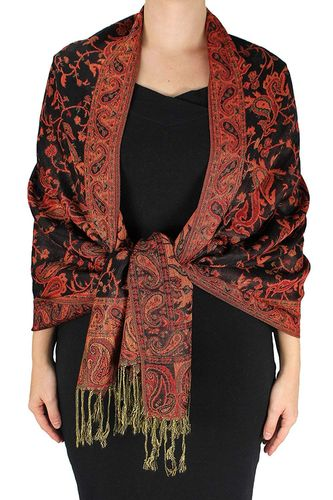 Black & Red Reversible Paisley Floral Shawl