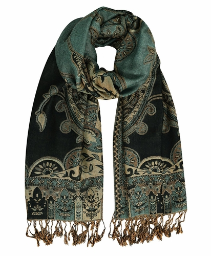 Cornflower Reversible Paisley Floral Shawl